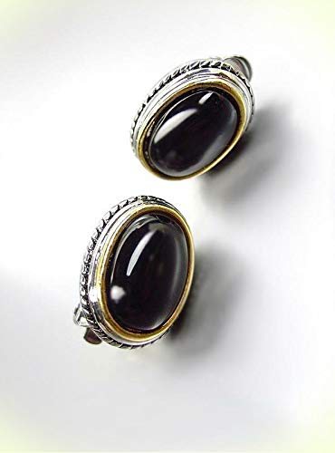GORGEOUS Designer BALINESE Silver Cable Oval Black Onyx Stone CLIP Earrings For Women Set