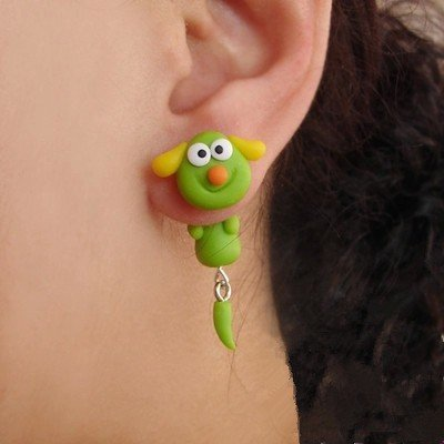 Costume Cowdog (Fashion Handmade Cartoon Green Cow Dog Animal Stud Earring For Women Jewelry)
