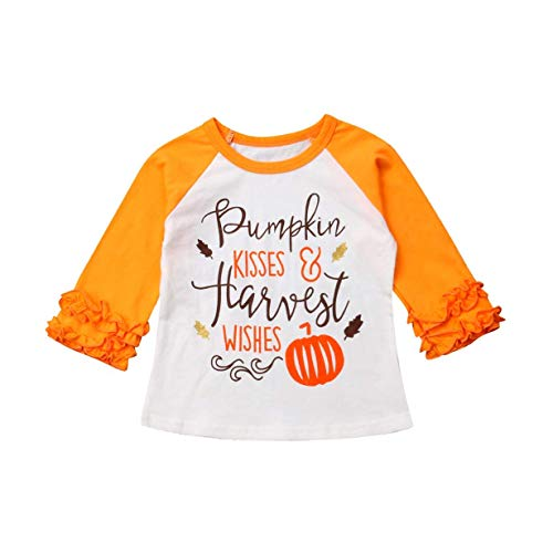 (Baby Kids Girl Unicorn Halloween Pumpkin Car Print Ruffle Polka Dot Long Sleeve Cotton T-Shirt Top Outfits (Yellow-1,)