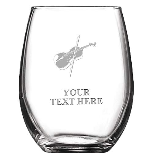 Glass Violin - Violin Personalized Wine Glass - 9 oz Custom Soiree Stemless Violin Wine Glass Gift Prime