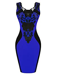 Zeagoo Women's Sleeveless Flroal Lace Neck Bodycon Dress Evening Cocktail Party Dress