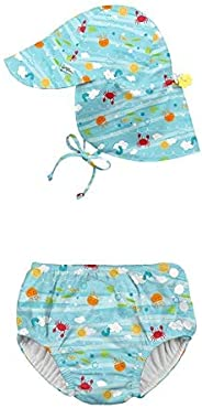 i play. by green sprouts Snap Reusable Swimsuit Diaper and Flap Sun Protection Hat - Aqua Sea Friends