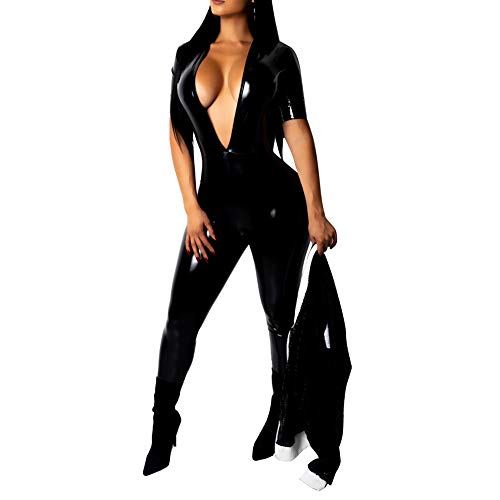 ECHOINE Womens Sexy One Pieces Outfits Faux Leather Bodycon Short Sleeve Jumpsuit Romper Black XL]()