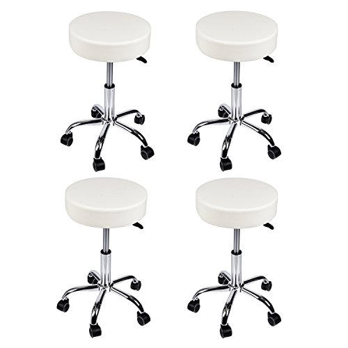 Salon Stool White Chair Set of 4 Adjustable Bar Stools for Spa Massage Medical Home Office by Elecwish