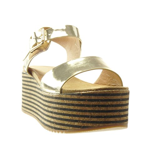 7 Plataforma cm Oro Plataforma Corcho Mujer Angkorly Líneas Moda Mules Sandalias Tanga Zapatillas xvTqf4H
