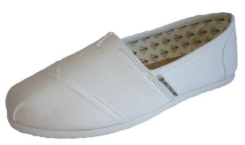 Blanc femme Blanc 35 5 toile Pointure Dunlop en pour 42 Espadrilles wFH1q