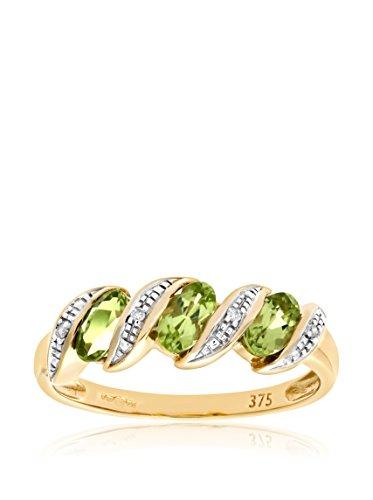 Revoni - Bague Éternité en or jaune 9 carats, péridots et diamants