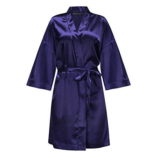 OThread & Co. Women's Short Satin Kimono Robe Silky Sleepwear Bridesmaid Bathrobe (Medium, Blue)