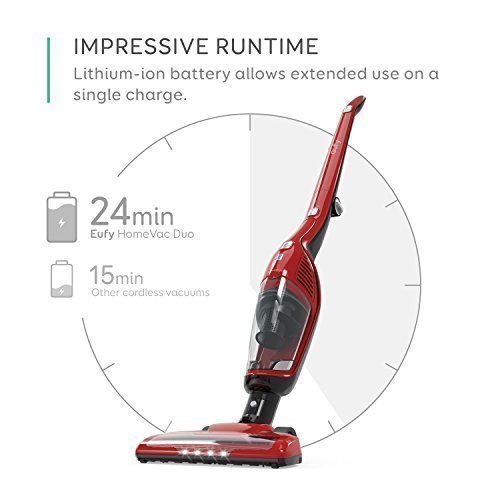 Eufy HomeVac Duo 2-in-1 Cordless Vacuum Cleaner, Rechargeable Bagless Stick and Handheld Vacuum with Upright Charging Base - Red