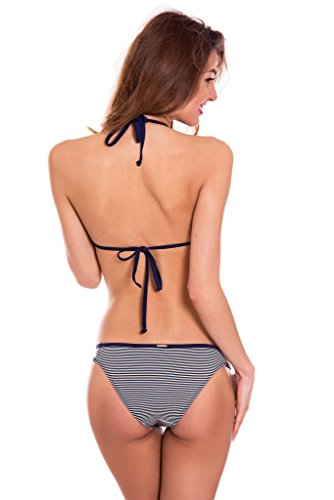 a donna push cross RELLECIGA costume top intrecciato criss Navy triangolo up bikini qgxqIw5T