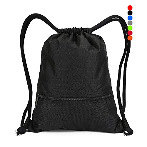 Double Sturdy Drawstring Bag With Pockets Waterproof   For Gym Sports & Workout Gear   Large Capacity String Backpack   8 Colors