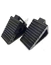 "MAXXHAUL 70472 Solid Rubber Heavy Duty Black Wheel Chock 2-Pack, 8"" x 4"" x 6"""