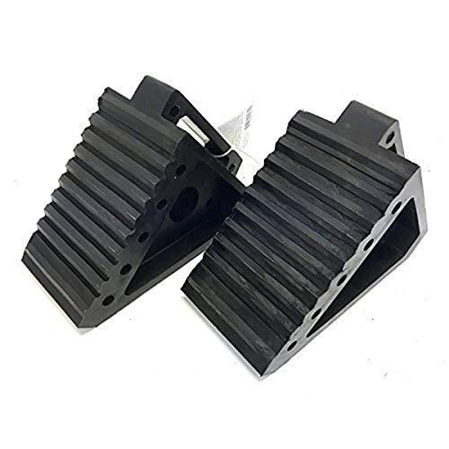MAXXHAUL 70472 Solid Rubber Heavy Duty Black Wheel Chock 2-Pack, 8″ x 4″ x 6″
