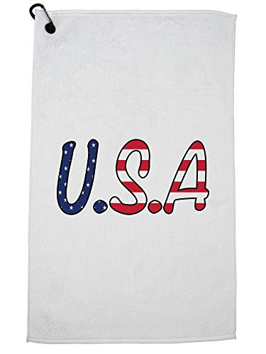 Hollywood Thread U.S.A July 4th Pride Independence Golf Towel with Carabiner Clip by Hollywood Thread