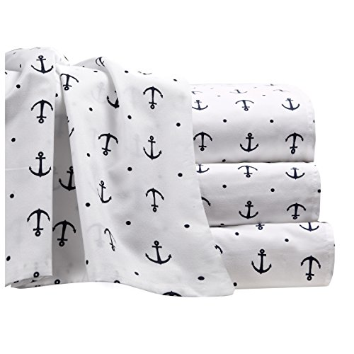 Sheet Set Nautical - Anchor Sheet Set with Deep Fitting Pockets, White with Navy Blue Anchors and Polka Dots, 4 Piece Sheet and Pillowcase Set - King, Anchors