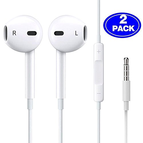 Herun Earbuds/Headphones/Earphones with Microphone Noise Isolating, in-Ear Wired Earbuds, Compatible for iPhone 6/6s plus/5s (2 Pack)