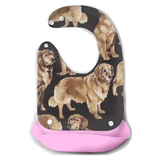ibs Easily Wipes Clean Waterproof Baby Mouth Towel Baby Bibs for Girls Boys Keep Stains Off Baby Shower Gift - Golden Retrievers ()