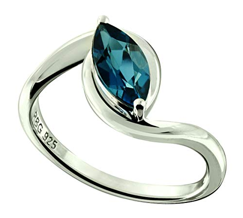 (RB Gems Sterling Silver 925 Ring Genuine GEMS Marquise 10x5 mm, 1.20 Cts Rhodium-Plated Finish (8, London-Blue-Topaz))