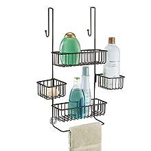 "InterDesign Metalo Bathroom Over the Door Shower Caddy with Swivel Storage Baskets for Shampoo, Conditioner, Soap 10.5"" x 8.25"" x 22.75"" Bronze"