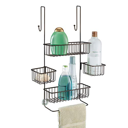 Mahogany Bar Finish Bronze (InterDesign Metalo Adjustable Over Door Shower Caddy – Bathroom Storage Shelves for Shampoo, Conditioner and Soap, Bronze)