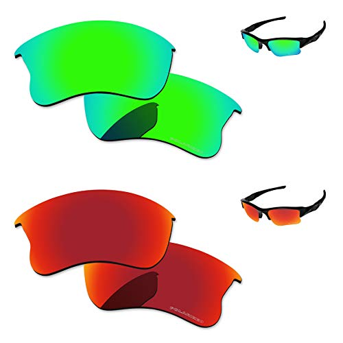 - PapaViva Replacement Lenses for Oakley Flak Jacket XLJ Fire Red & Bluish Green