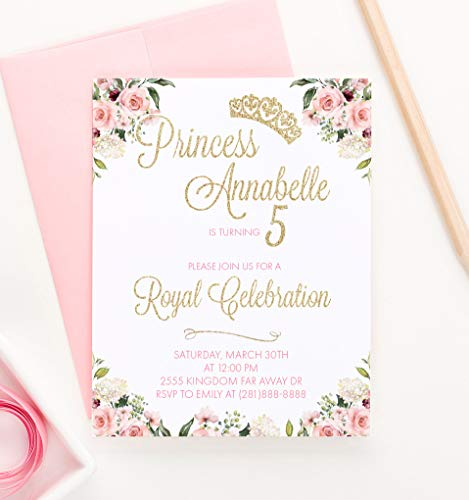 Princess Birthday Invitations for Girls, Floral Princess 1st Birthday Invitations, Your choice of Quantity, Age, Info and Envelope Color ()