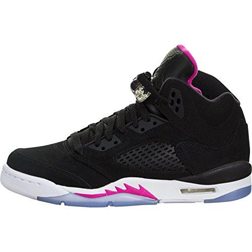 Jordan Retro 5 ''Deadly Pink'' Black/Black-Deadly Pink-White (Big Kid) (8 M US Big Kid) by Jordan