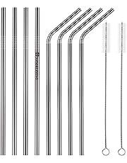 SAVORLIVING Sugrör i rostfritt stål ultralånga 20 cm återanvändbara sugrör i metall set med 8 med 2 rengöringsborste, böjda och raka sugrör för 56 ml muggar