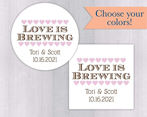Love is Brewing Wedding Favor Stickers For Tea, Coffee or Other Drink Favors (#205-WH)