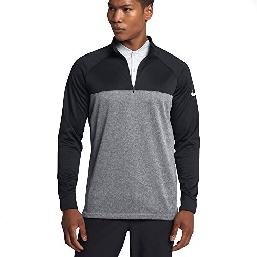 Therma Fit Fleece Top - Nike Therma Core Half-Zip Men's Golf Top (Black/Heather, Large)