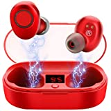 Maypott True Wireless Earbuds, Latest Mini TWS 5.0 Bluetooth Earbuds with Portable Charging Case, 20H Playtime, Deep Bass Stereo Sound, Built-in Microphone for iOS and Android (Red)