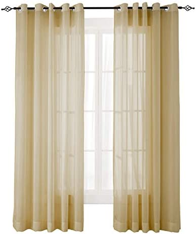 ChadMade Indoor Outdoor Solid Sheer Curtain Nickel Grommet Khaki 200″ W X 102″ L Opulent Voile Drapes 1 Panel