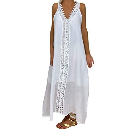 Womens V Neck Lace Boho Dress Sleeveless Loose Summer Beach Split Maxi Dress White]()