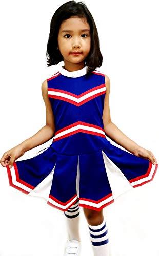 Little Girls' Children Kids Dress Cheerleader Cheerleading Sport School Uniform Costume Blue/Red/White (S / 2-5) -