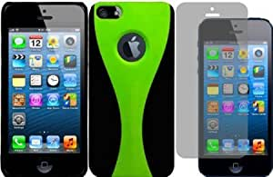 Bloutina For Apple Iphone 5 5G 6th Gen Accessory Dual Cover Case Neon Green/Black+LCD Screen Protector