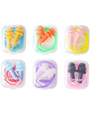 Silicone Earplugs Soft Waterproof Noise Reduction Ear Plugs Sound Blocking Earplugs with Cord 6pairs