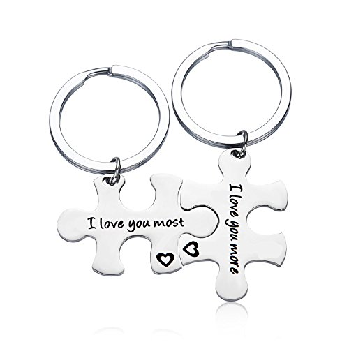 Gzrlyf Puzzle Piece Keychain I Love You Most I love You More Keychain Couples Jewelry(set keychain) by Gzrlyf