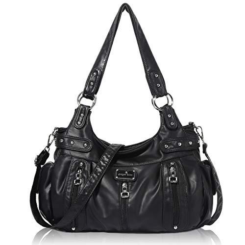 Handbag Hobo Women Handbag Roomy Multiple Pockets Street ladies' Shoulder Bag Fashion PU Tote Satchel Bag for Women - Black Hobo Handbag