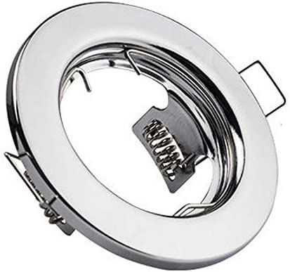 LED ME Fixed Recessed Spotlight Ceiling Lighting Downlight Mains 240V GU10 Fitting for Halogen or LED Lights Lamps Polished Chrome Single Pack
