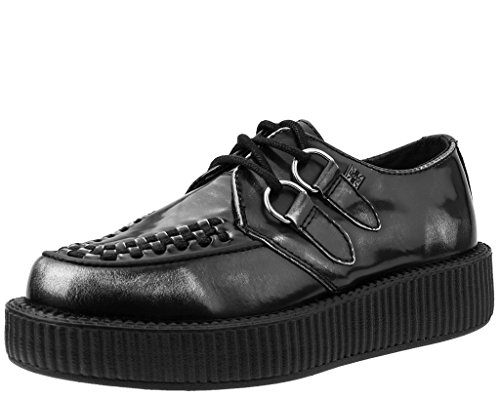 T.U.K. Shoes Grey Box Leather Viva Low Creeper Grey