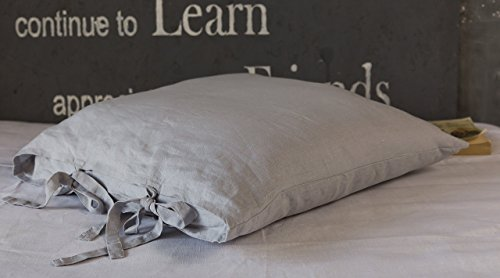 Stone grey linen pillow sham cover with two bow ties, Standard - 20