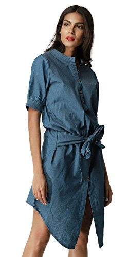 Elegant Stand (Clarisbelle Women Elegant Casual Stand Collar Denim Dress Short Sleeve)