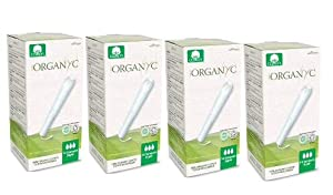 Organic Cotton Tampons, 56 Count, Super, by Organyc with Applicator for Sensitive Skin