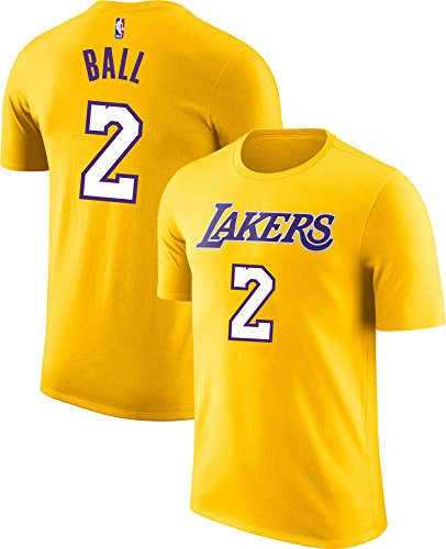 Outerstuff NBA Youth Performance Game Time Team Color Player Name and Number Jersey T-Shirt (Large 14/16, Lonzo Ball Yellow)