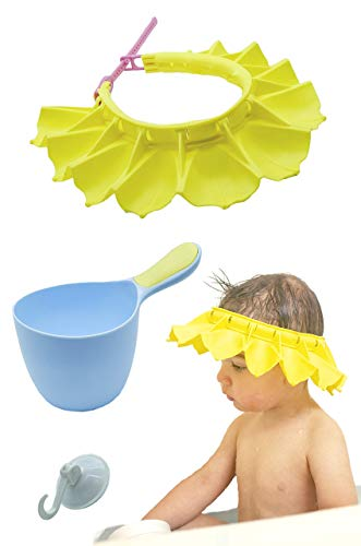 Silicone Baby Shower Cap & Baby Shampoo Rinse Cup Bath Set   Highly Adjustable, Stretchy, Bath Visor for Kids, Toddlers and Babys   Safe and Soft   Suction Cup Hooks for Bathroom Organization (Blue) ()