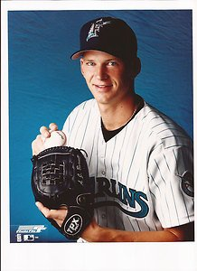 (A J Burnett Unsigned 8x10 Photo Florida Marlins)