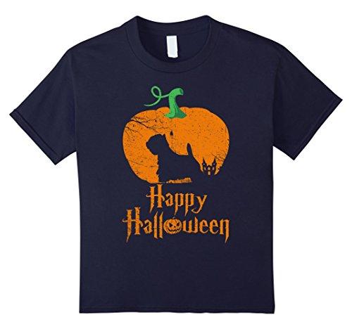 [Kids WESTIE In Pumpkin Happy Halloween T-shirt 12 Navy] (Westies In Costumes)