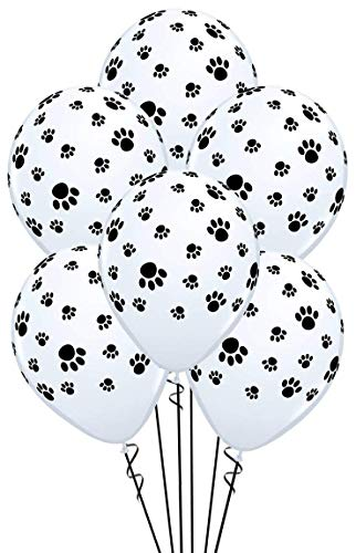 - Paw Prints-A-Round Biodegradable Latex Balloons, White with Black paw prints All-Around, 11-Inch (15-Units)