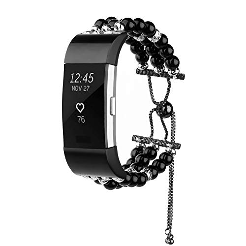 Gealpoor Replacement Bands Compatible Fitbit Charge 2 Bands for Women Girls,Fashion Handmade Bracelet Jewelry with Elastic Beaded Pearl Band,Adjustable Dressy Wristbands ()