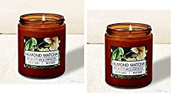 Bath and Body Works 2 Pack Almond Matcha Single Wick Candle. 7 Oz.